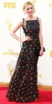 Laura Carmichael in a black floral gown.