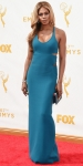 Laverne Cox in a teal cut out dress by Calvin Klein Collection by Francisco Costa with Fred Leighton jewelry & Stuart Weitzman shoes