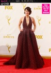 Lena Headey in a red beaded halter gown by Zuhair Murad.