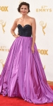 Maggie Gyllenhall in a black & purple Oscar de la Renta sweetheart gown.