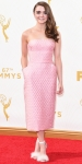 Maisie Williams in a strapless pink column midi length dress with feathered ankle strap heels.