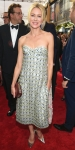 Naomi Watts in an embellished sweetheart midi length dress.
