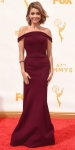 Sarah Hyland in a burgundy Zac Posen off the shoulder dress with jewelry by Lorraine Schwartz & Ofria.