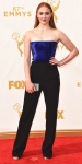 Sophie Turner in a royal blue & black jumpsuit by Galvan.