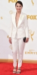 Tatiana Maslany in a white suit by Bouchra Jarrar Couture.
