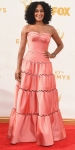Tracee Ellis Ross in a bubble gum pump sweetheart gown by Zac Posen.