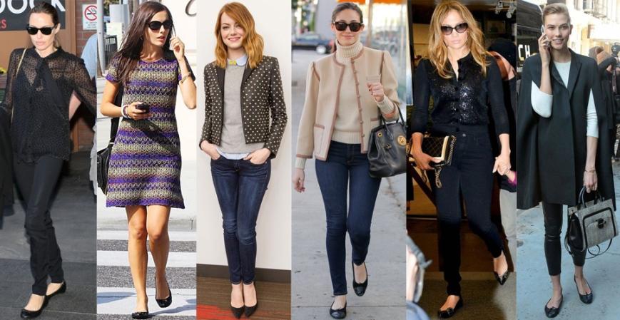 Angelina Jolie, Camilla Belle, Emma Stone, Emmy Rossum, Jennifer Lopez, & Karlie Kloss in flats.