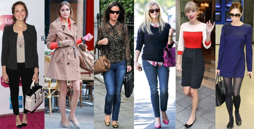 Mandy Moore, Olivia Palermo, Pippa Middleton, Reese Witherspoon, Taylor Swift, & Victoria Beckham in flats.