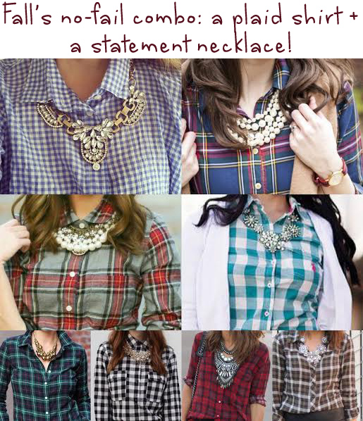 Fall's no-fail combo - a plaid shirt plus a statement necklace.