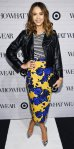 Jessica Alba attended the Who What Wear x Target launch party in designs from the collaboration with a striped tee, bold floral pencil skirt, moto jacket, black clutch, & silver Brian Atwood pumps.