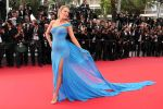 Blake Lively in a blue one-shoulder beaded Versace gown at the Cannes Film Festival.