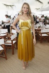 Blake Lively in a gold velvet spaghetti strap belted dress by Valentino at the Cannes Film Festival.