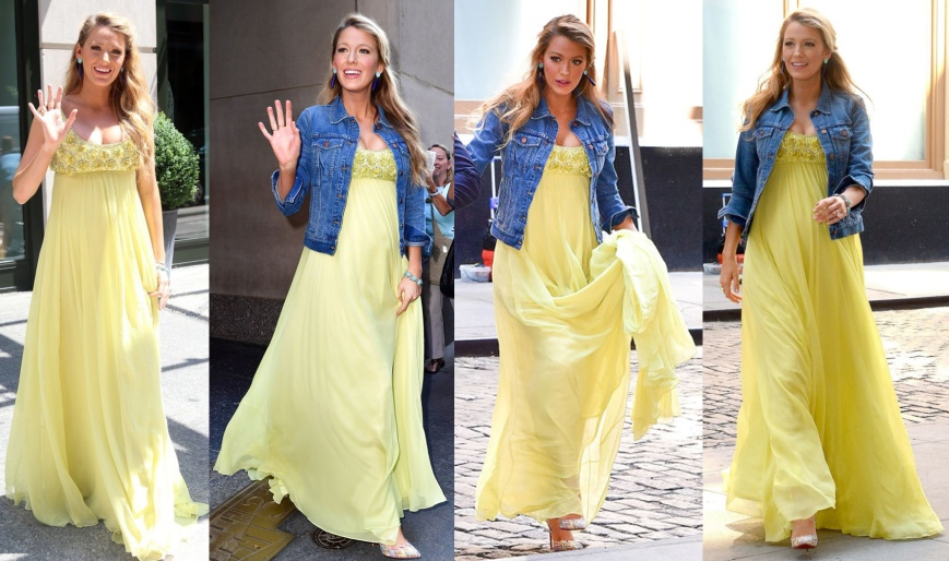 Blake Lively in a yellow Jenny Packham empire maxi dress with a Madewell denim jacket & printed Christian Louboutin pointy toe heels.