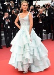 Blake Lively in an ice blue ruffled ball gown by Vivienne Westwood with silver metallic pumps at the Cannes Film Festival.