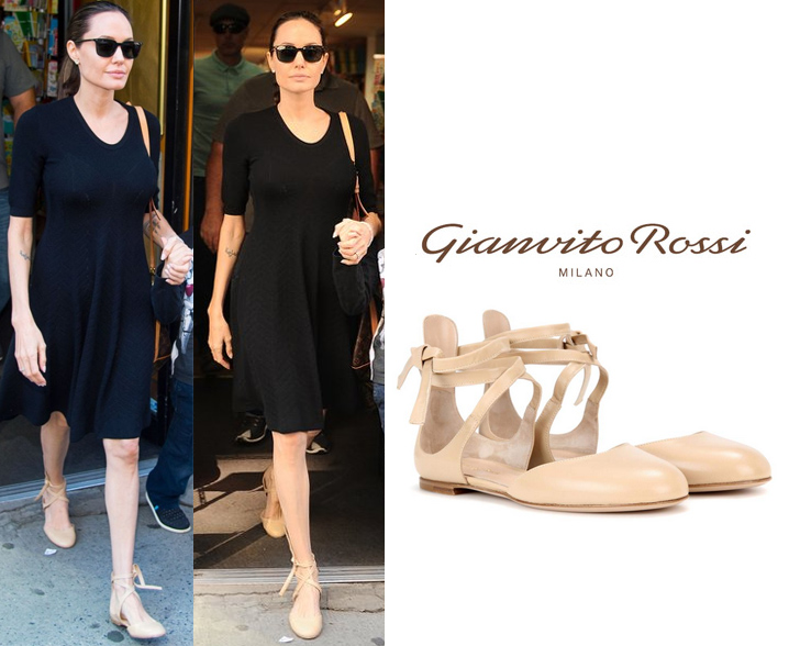 Darling of the Day - Angelina Jolie's Easy Breezy Summer LBD & Strappy Flats
