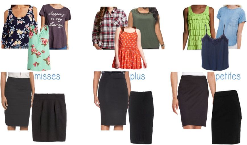 Misses, Plus, & Petites pencil skirt looks.