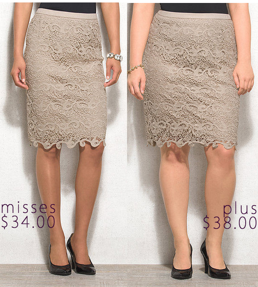 38b3aa13731 It didn t take long before I came across this versatile crochet scalloped  skirt from  Dress Barn (shop misses available in small – large   plus  available in ...
