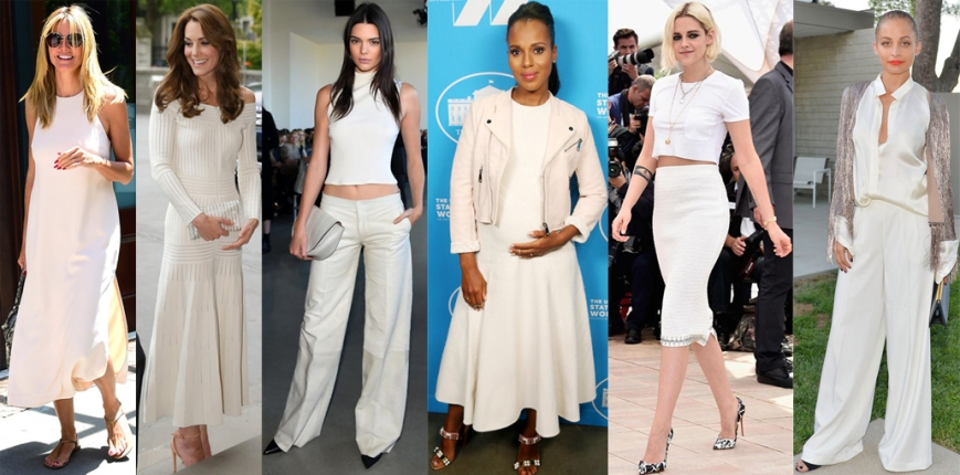 Heidi Klum, Kate Middleton, Kendall Jenner, Kerry Washington, Kristen Stewart, & Nicole Richie in white.