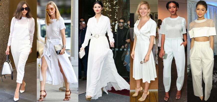 Olivia Culpo, Olivia Palermo, Selena Gomez, Sienna Miller, Solange Knowles, & Zendaya in white.