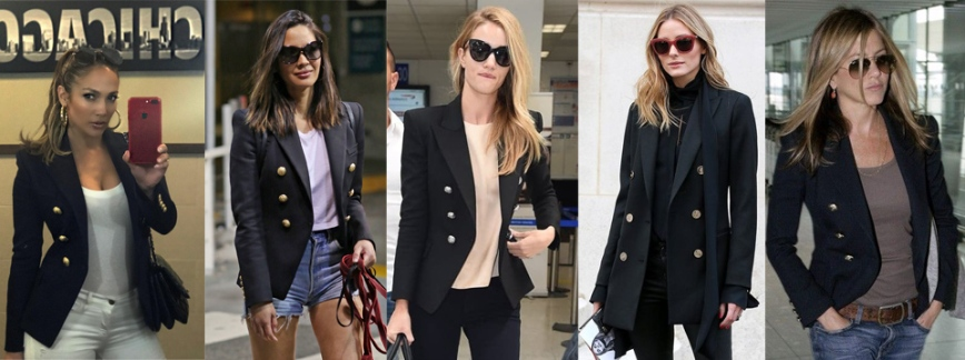 bea55ea8 ... kind of money that these celebs do (on brands like Balmain) for a chic,  all-purpose & neutral menswear-inspired piece. The double-breasted ponte  blazer ...