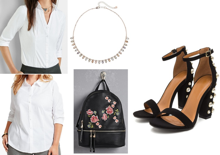917572cc67536 SHOP: shirt @Express, LC Lauren Conrad necklace @Kohl's, plus shirt  @Talbots, floral mini backpack @Forever 21, & pearl chunky sandals @GOjane.