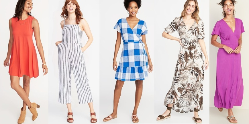 tamarind swing dress, striped linen-blend jumpsuit, blue gingham wrap dress, white botanical crepe midi dress, & beetroot cross-front jersey maxi dress @Old Navy