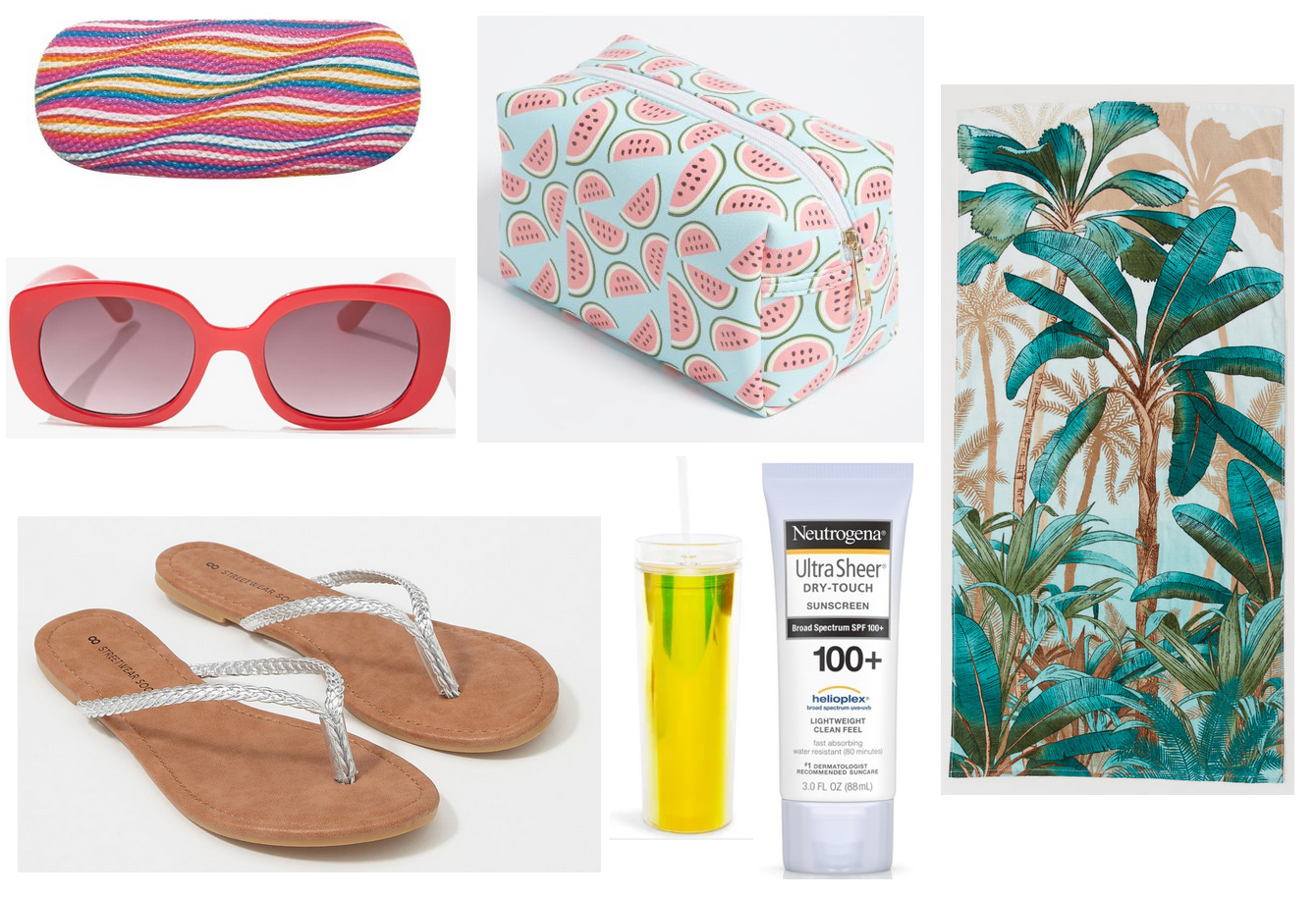 5748736d8ca2c SHOP: eyeglass case @Walmart, red sunglasses @Forever 21, silver braided  flip flops @Charlotte Russe, watermelon makeup pouch @Rue 21, travel water  bottle ...